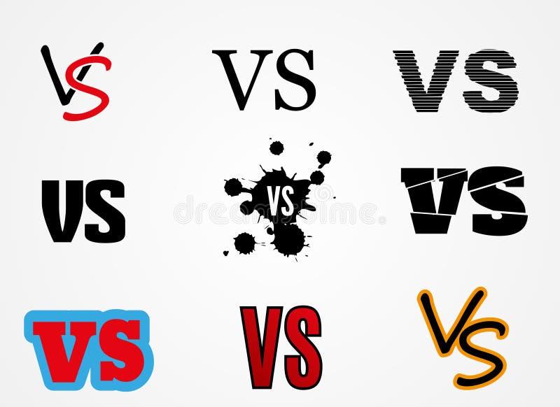 Contra logotipo CONTRA vector pone letras al ejemplo Icono de la competencia Símbolo de la lucha ilustración del vector