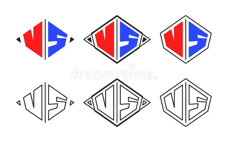 Contra logotipos da luta das letras ilustração do vetor