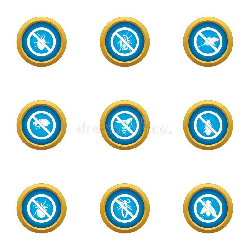 Contra los iconos fijados, estilo plano ilustración del vector