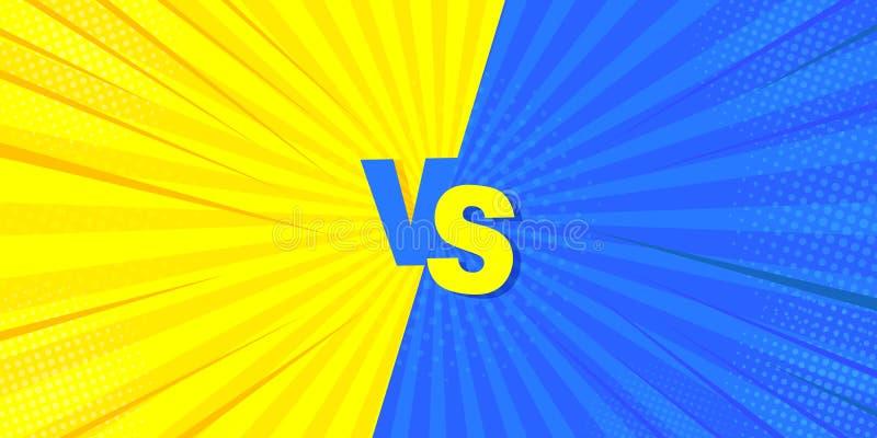 Contra a luta de um fundo cômico Ideia mega para a banda desenhada, no estilo retro Ilustração do vetor de amarelo e de azul ilustração stock