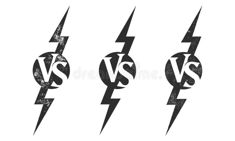 CONTRA contra o ícone do vetor para a competição do fósforo de esporte ilustração royalty free