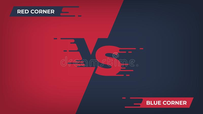 Contra o fundo Competição de esporte CONTRA o cartaz, conceito do duelo da batalha da luta de jogo, projeto vermelho azul da equi ilustração royalty free