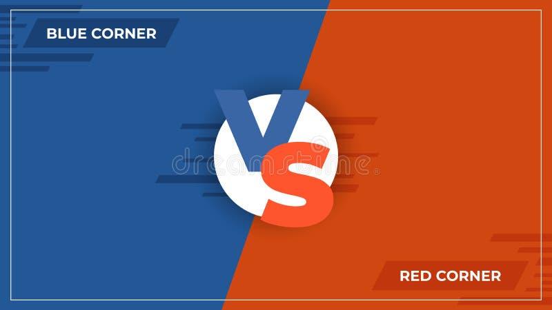 Contra o fundo CONTRA o logotipo da comparação, o conceito cômico da competição de esporte, o azul da batalha do jogo e o cartaz  ilustração stock