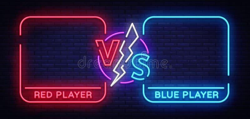 Contra o projeto de tela no estilo de néon Anúncio de néon da bandeira de dois lutadores Néon futurista azul CONTRA as folhas ilustração do vetor
