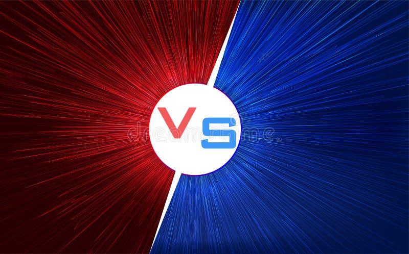 Contra o projeto de tela Vermelho e azul CONTRA letras Velocidade clara da urdidura Ilustração do vetor ilustração royalty free