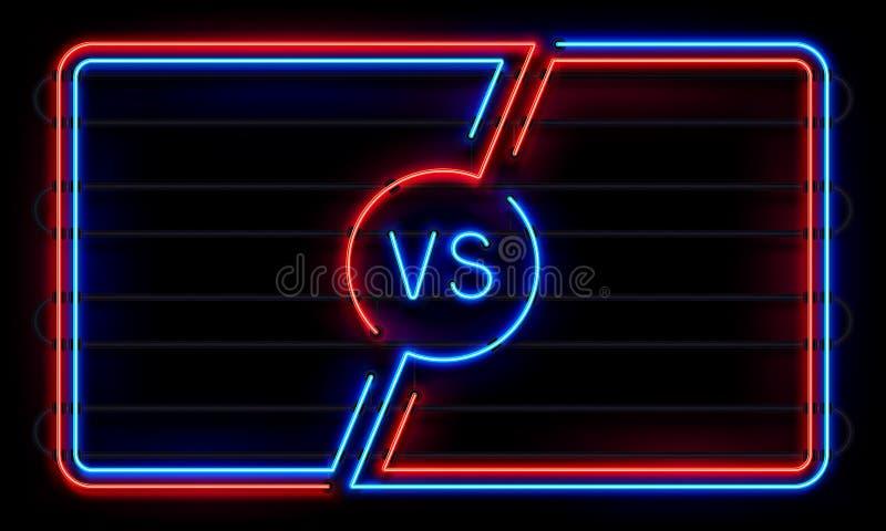Contra o quadro de néon Ostente linhas de incandescência bandeira da batalha, CONTRA o sinal do duelo A equipe da luta dos esport ilustração royalty free