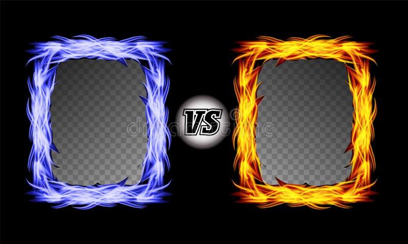 Contra símbolo del vector con los marcos del fuego CONTRA letras Diseño del fondo de la lucha de la llama Concepto de la competic stock de ilustración