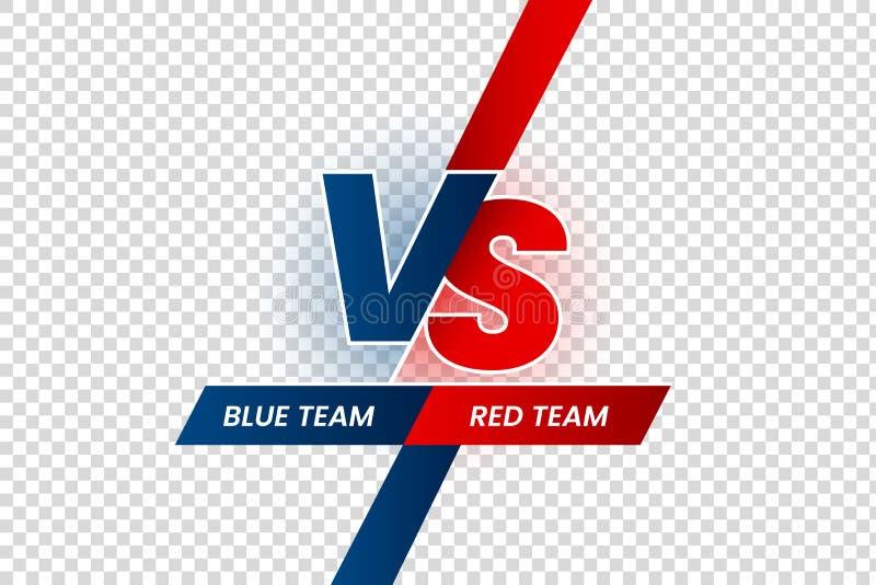 Contra título del duelo Rojo de la batalla contra marco azul del equipo, la competencia del partido del juego y el vector aislado stock de ilustración