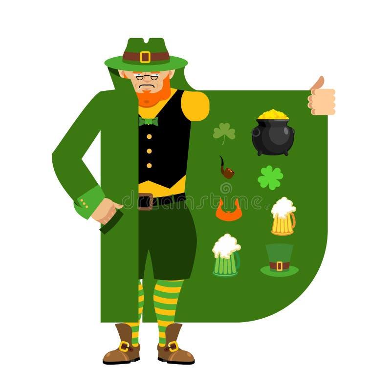 Contrabandista del duende que vende el trébol y cualidades del día de fiesta clo libre illustration