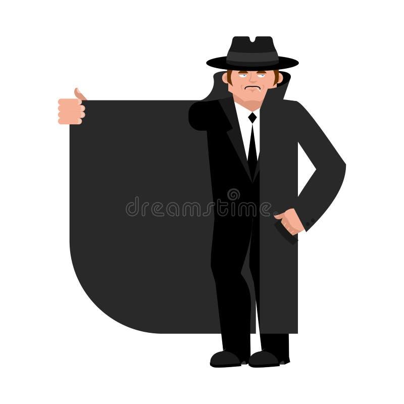Contrabandista que vende algo Capa-vendedor aislado Distribuidor autorizado en sombrero libre illustration