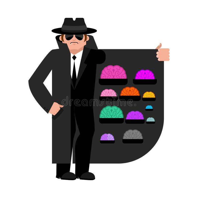 Contrabandista que vende cerebros Capa-vendedor aislado Distribuidor autorizado en el sombrero ilustración del vector