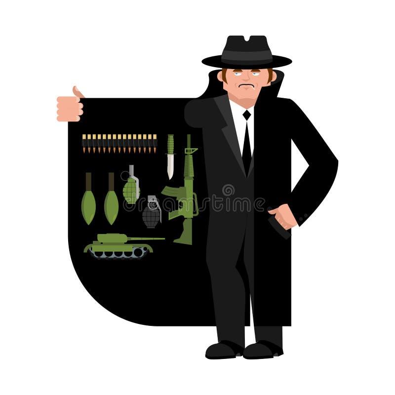 Contrabandista que vende el arma Arma y cabezas munición libre illustration