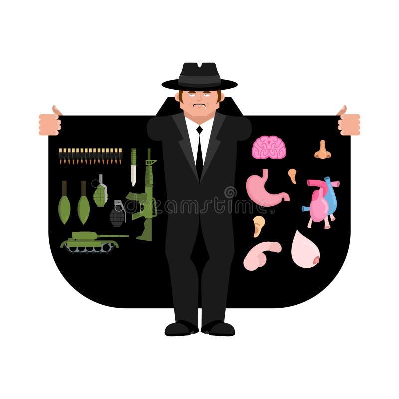 Contrabandista que vende las armas y los órganos Capa-vendedor aislado libre illustration