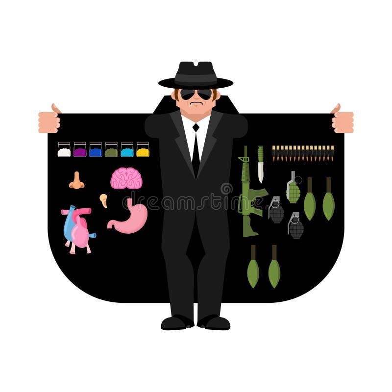 Contrabandista que vende las armas y los órganos Capa-vendedor aislado stock de ilustración