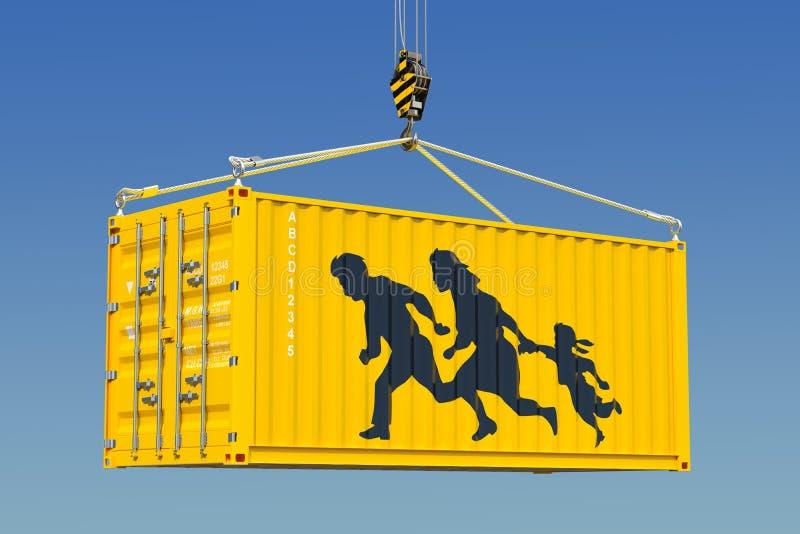 Contrabando humano, conceito da entrada ilegal rendição 3d ilustração do vetor