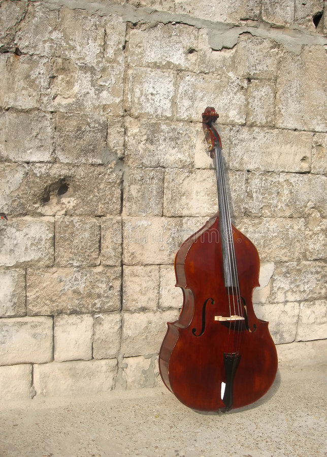 Contrabass. Leant against the wall royalty free stock image
