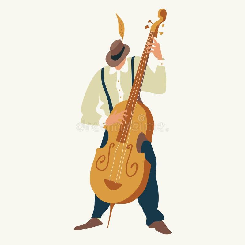 Contrabasspeler De jazz of de blauwmusicus spelen een contrabas Vector illustratie stock illustratie