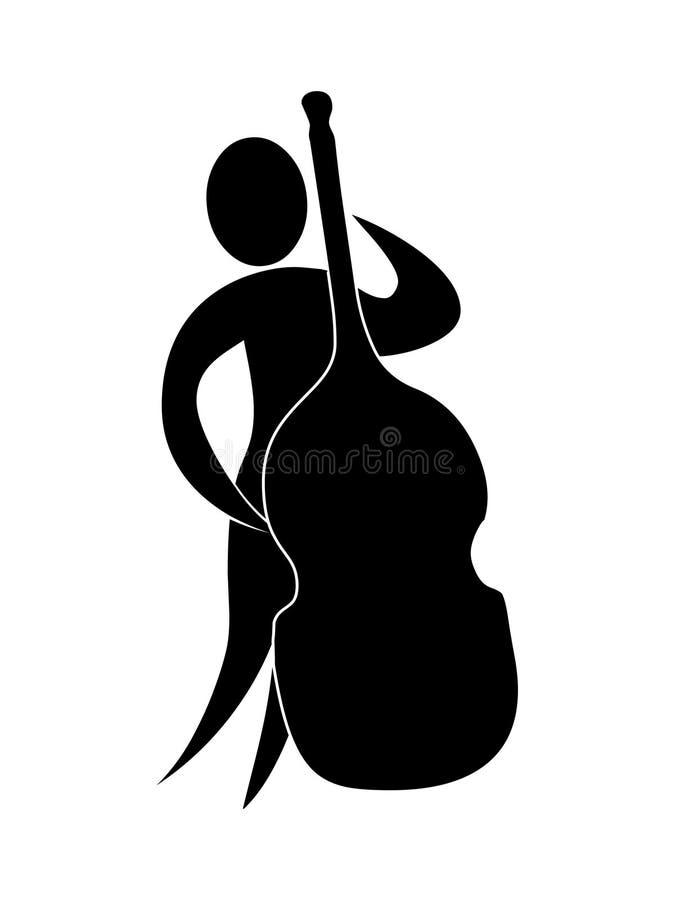 Contrabasspeler Muziekillustartion vector illustratie