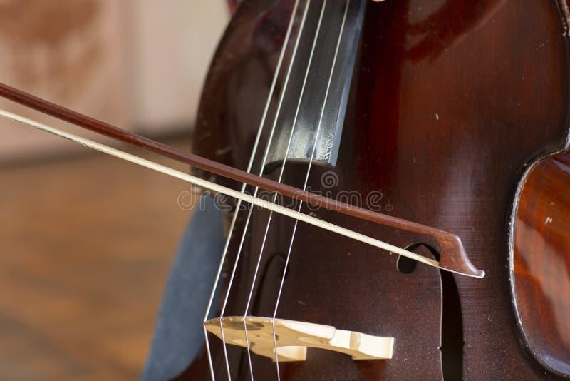 Contrabbasso Contrabbasso con lo strumento musicale dell'arco Violoncello del primo piano immagine stock libera da diritti