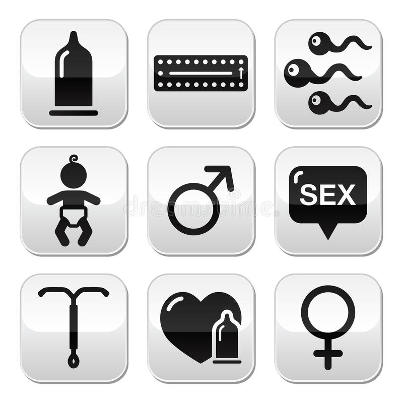Contraception methods, sex buttons sex royalty free illustration