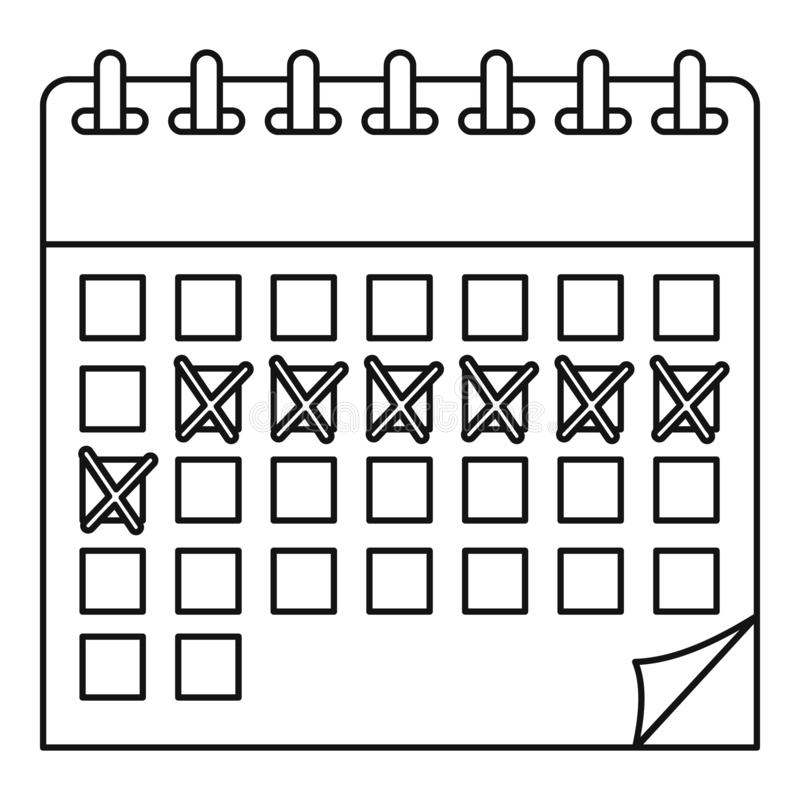 Contraceptive calendar icon, outline style. Contraceptive calendar icon. Outline illustration of contraceptive calendar vector icon for web design isolated on stock illustration