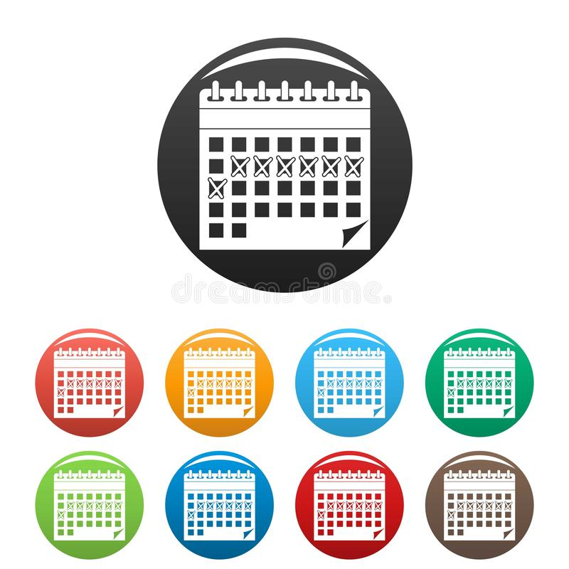 Contraceptive calendar icons set color. Contraceptive calendar icons set 9 color vector isolated on white for any design stock illustration