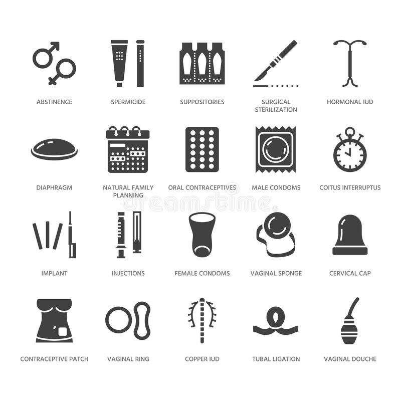 Contraceptive method flat glyph icons. Birth control equipment, condoms, oral contraceptives, iud, vaginal ring. Sterilization. Safe sex signs for medical royalty free illustration