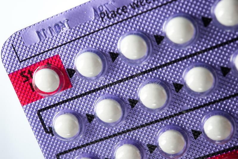 Contraceptive Pill. Hormonal pills on white royalty free stock photography
