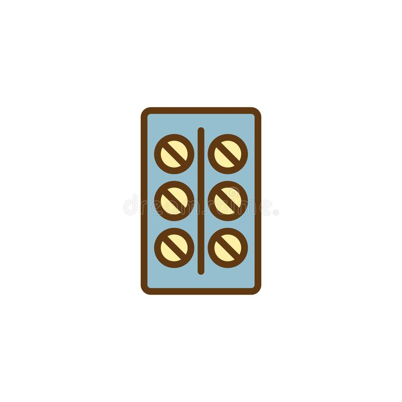 Contraceptive Pills filled outline icon. Line vector sign, linear colorful pictogram isolated on white. Tablets blister pack symbol, logo illustration. Pixel stock illustration