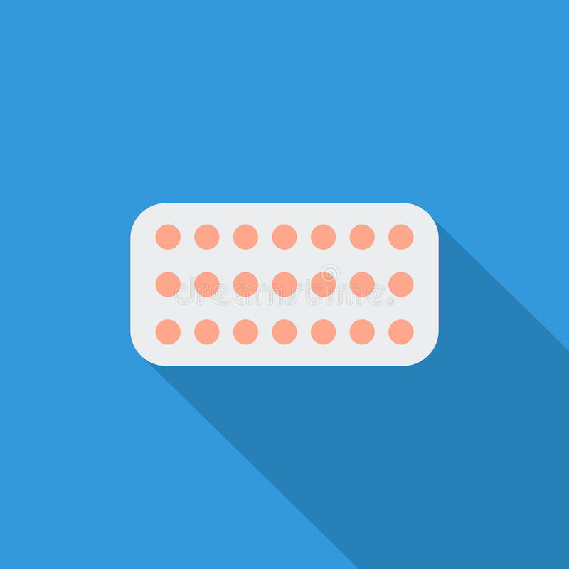 Contraceptive pills. Icon. Flat vector related icon with long shadow for web and mobile applications. It can be used as - logo, pictogram, icon, infographic stock illustration