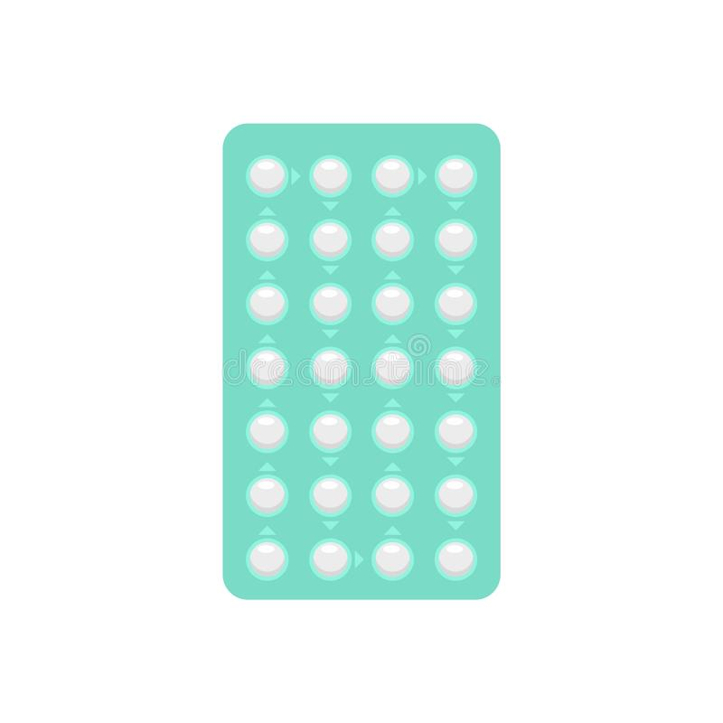 Contraceptive pills pack icon, flat style. Contraceptive pills pack icon. Flat illustration of contraceptive pills pack vector icon for web design vector illustration