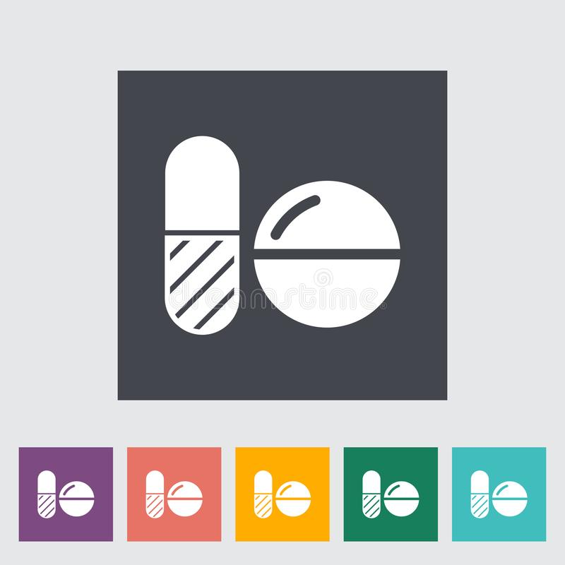 Contraceptive pills. Single flat icon on the button. Vector illustration vector illustration
