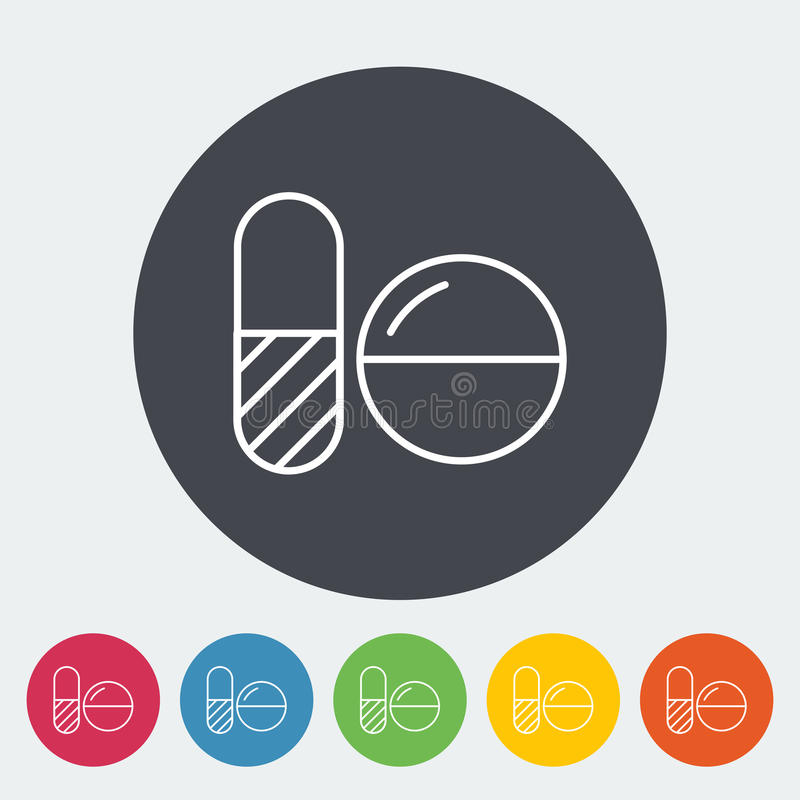 Contraceptive pills. Single flat icon on the button. Vector illustration royalty free illustration