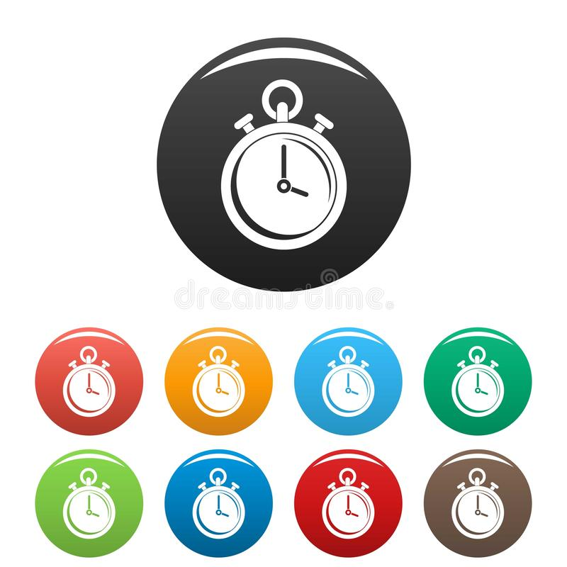 Contraceptive stopwatch icons set color. Contraceptive stopwatch icons set 9 color vector isolated on white for any design vector illustration