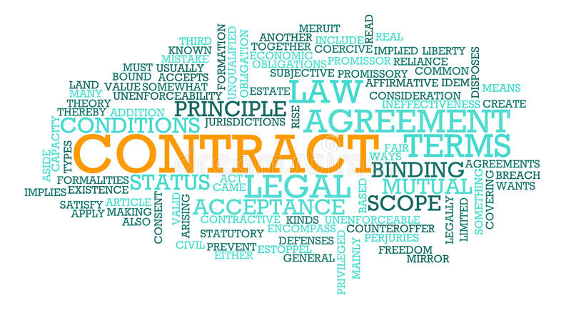 Contract. For Business Law on Terms of Agreement royalty free illustration