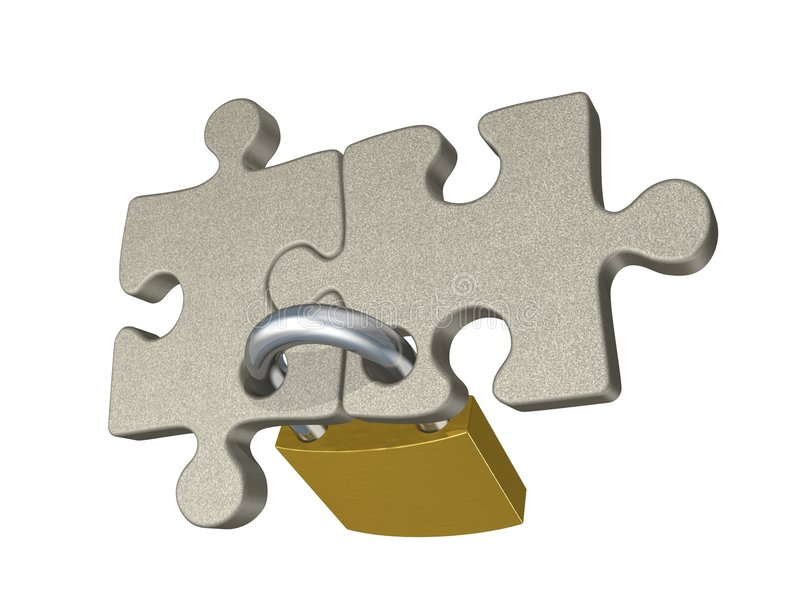 Contract. (metaphor with puzzles and padlock vector illustration