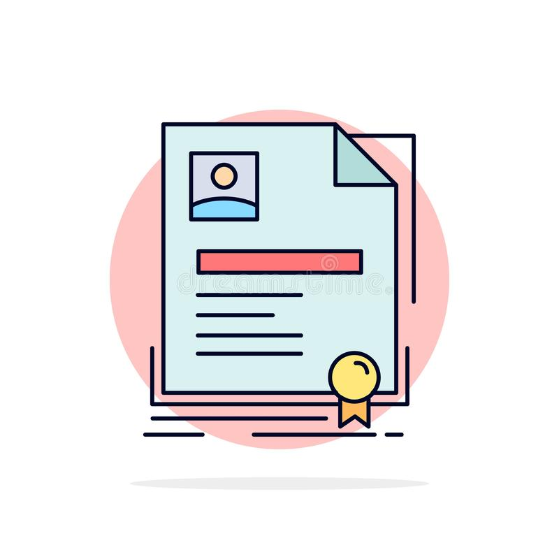 Contract, badge, Business, agreement, certificate Flat Color Icon Vector stock illustration