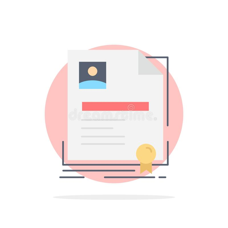 Contract, badge, Business, agreement, certificate Flat Color Icon Vector royalty free illustration