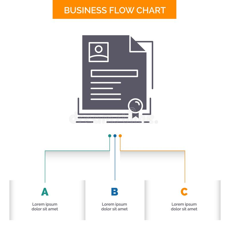 Contract, badge, Business, agreement, certificate Business Flow Chart Design with 3 Steps. Glyph Icon For Presentation Background. Template Place for text stock illustration