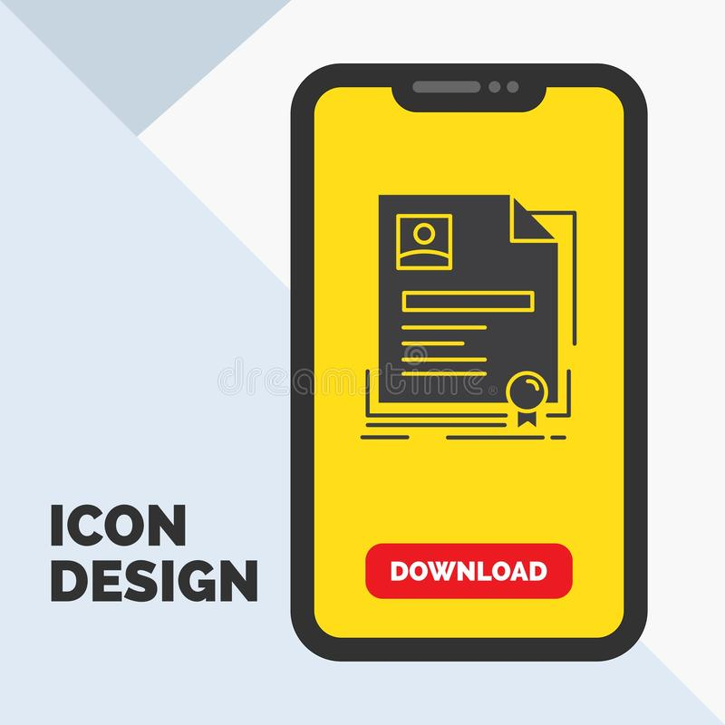 Contract, badge, Business, agreement, certificate Glyph Icon in Mobile for Download Page. Yellow Background stock illustration