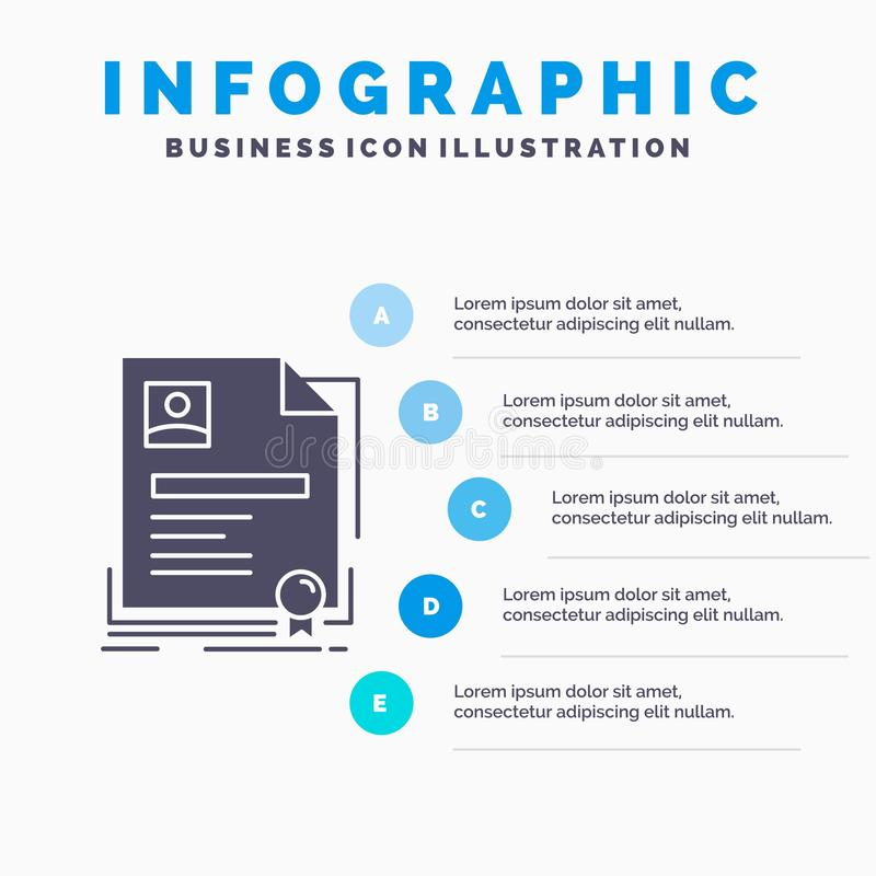 Contract, badge, Business, agreement, certificate Infographics Template for Website and Presentation. GLyph Gray icon with Blue royalty free illustration