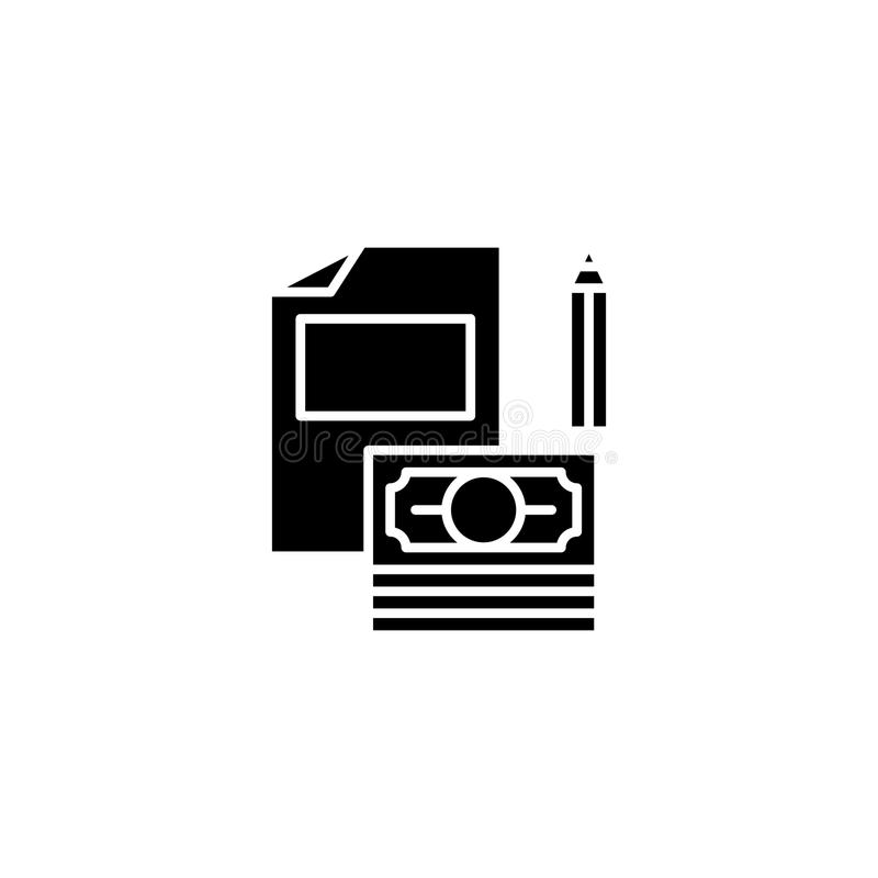 Contract black icon concept. Contract flat vector symbol, sign, illustration. royalty free illustration