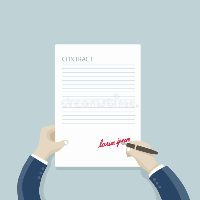 Contract : businessman hands signing a contract:. Background vecter eps10 royalty free illustration