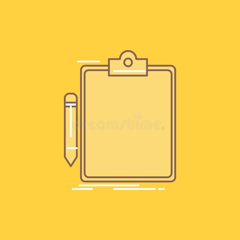 Contract, check, Business, done, clip board Flat Line Filled Icon. Beautiful Logo button over yellow background for UI and UX, vector illustration