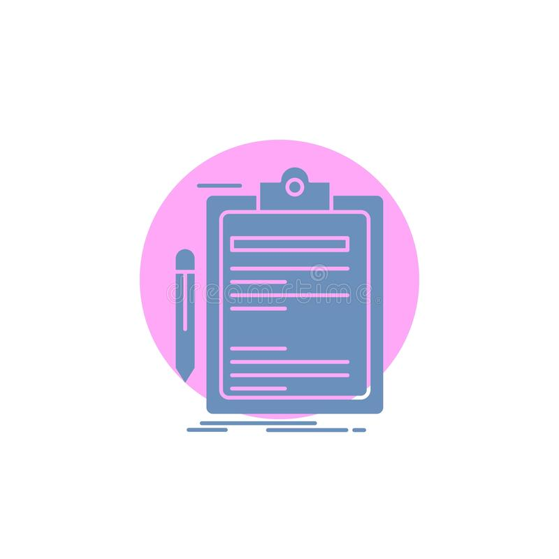 Contract, check, Business, done, clip board Glyph Icon. Vector EPS10 Abstract Template background vector illustration