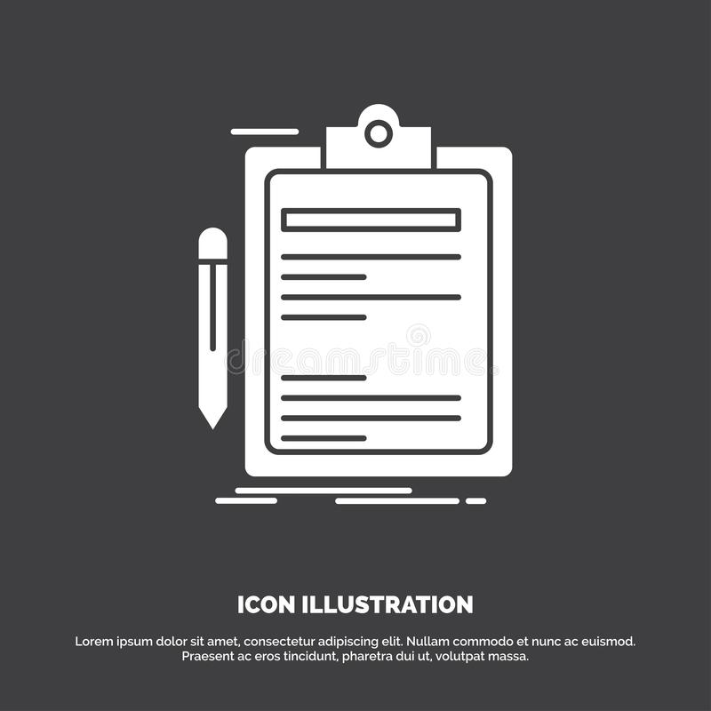 Contract, check, Business, done, clip board Icon. glyph vector symbol for UI and UX, website or mobile application. Vector EPS10 Abstract Template background vector illustration
