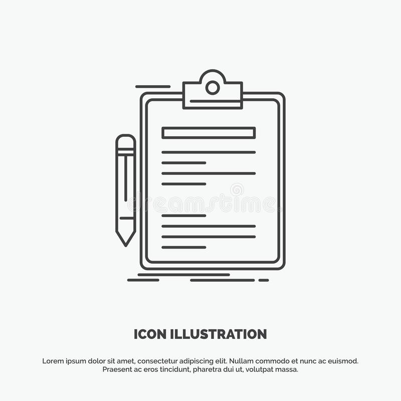 Contract, check, Business, done, clip board Icon. Line vector gray symbol for UI and UX, website or mobile application. Vector EPS10 Abstract Template royalty free illustration