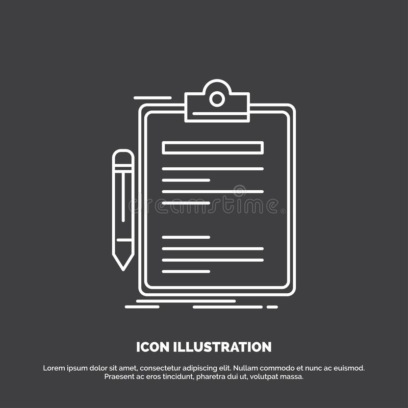 Contract, check, Business, done, clip board Icon. Line vector symbol for UI and UX, website or mobile application. Vector EPS10 Abstract Template background royalty free illustration