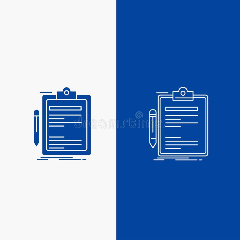 Contract, check, Business, done, clip board Line and Glyph web Button in Blue color Vertical Banner for UI and UX, website or. Mobile application. Vector EPS10 royalty free illustration