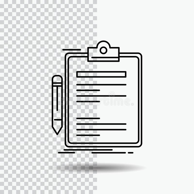 Contract, check, Business, done, clip board Line Icon on Transparent Background. Black Icon Vector Illustration vector illustration